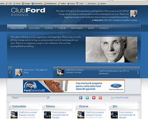 ClubFord Portal printscreen